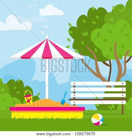 Colorful Children's playground with sandbox bench unbrella. Kids playground. School Children's park. Buildings for city construction. Kindergarten Vector flat design illustration