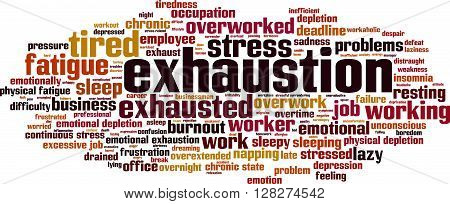 Exhaustion word cloud concept. Vector illustration on white