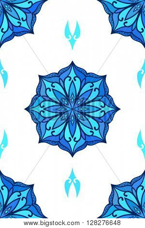 Seamless floral ornament, Abstract vector background blue colors