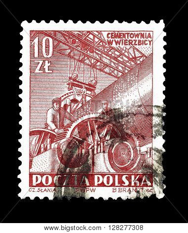 POLAND - CIRCA 1952 : Cancelled postage stamp printed by Poland, that shows Concrete factory.
