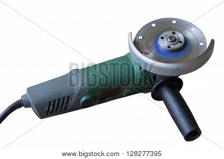 small angle grinder with abrasive disk isolated on a white background