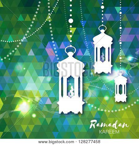 Polygonal green Ramadan Kareem celebration greeting card. Triangle Hanging arabic lamps stars and crescent moon. Holy month of muslim. Symbol of Islam. Moon Ramadan. Vector illustration.
