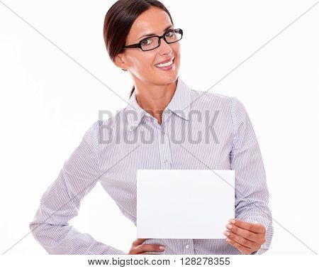 Smiling Happy Businesswoman With A Signboard