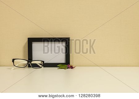 Frame for a photo with glasses background