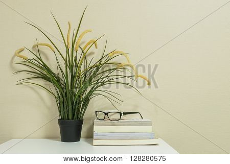 Glasses on books with fake plant in pot on wall room background
