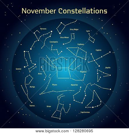 Vector illustration of the constellations of the night sky in November. Glowing a dark blue circle with stars in space Design elements relating to astronomy and astrology