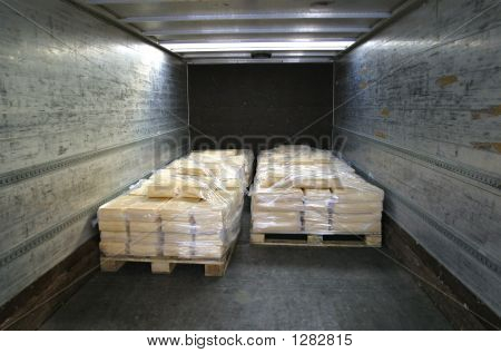 Manufactured Cheese On Pallets In Back Of Truck