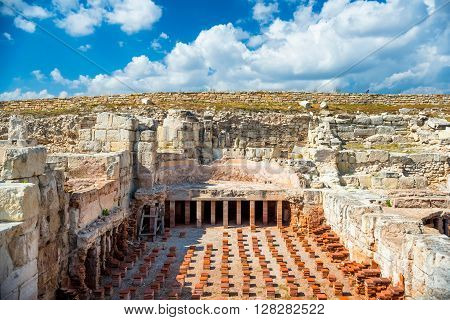 Underfloor Heating at Kourion Baths at Kourion Archeological site. Limassol District Cyprus