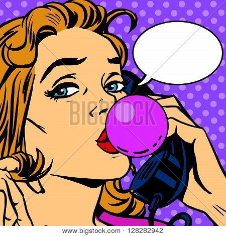 Bubble gum girl telephonist vector retro pop art. Chat on the phone. Chewing gum
