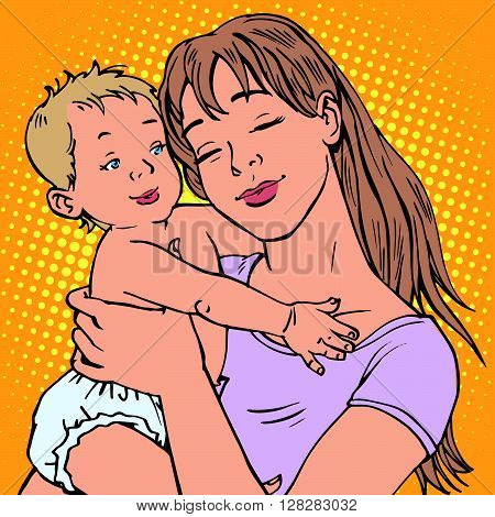 young mother baby vector retro pop art. The children and parents. maternal concern about the baby. Vector mother. Mom illustration