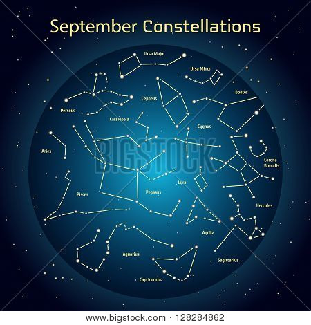 Vector illustration of the constellations of the night sky in September. Glowing a dark blue circle with stars in space Design elements relating to astronomy and astrology