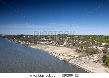 The shoreline of the Hudson River Poughkeepsie New York