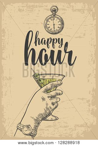 Female hand holding a glass of cocktail. Vintage vector engraving illustration for label poster menu. Isolated on beige background. Happy hour.