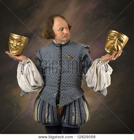 William Shakespeare in period clothing holding theatrical masks in either hand.