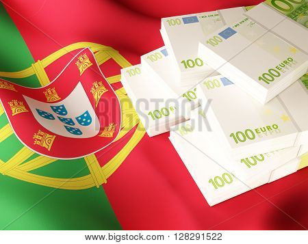 Euro banknote bundles on textile textured Portuguese flag. 3d rendering.