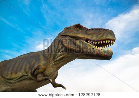 NOVI SAD SERBIA - APRIL 28 2016: Tyrannosaurus rex (T-Rex) life-size model of prehistoric animal in theme entertainment Dino Park in Novi Sad Serbia. Tyrannosaurus rex was one of the largest land carnivores of all time.