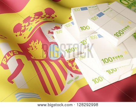 Euro banknote bundles on textile textured Spain flag. 3d rendering.
