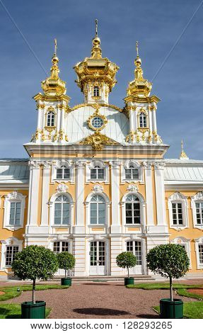 Petergof St Petersburg Russia - September 1 2012: Front view of Grand petergof palace church. Only the religious building created by architect Rastrelli.