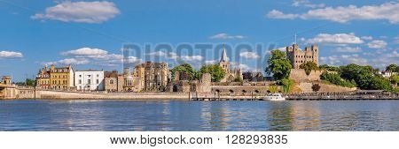 Rochester England UK - June 7 2015:. Historical Rochester as seen across river Medway on June 7 2015.