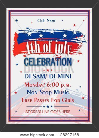 Creative Pamphlet, Banner or Flyer design with American Flag colors for 4th of July, Independence Day Party celebration.