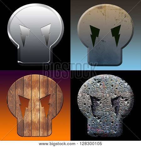 Stylized Images Of Four Skulls Made Of Stone Metal And Wood