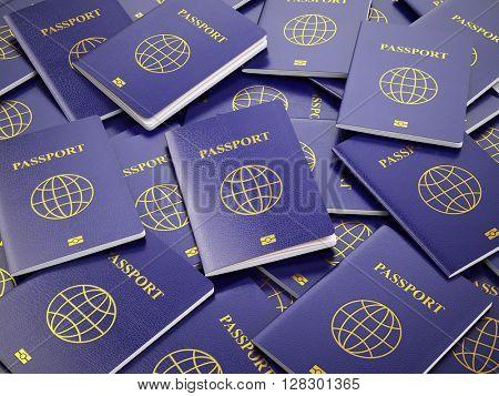 Passport.  Travel turism or customs concept background. 3d illustration