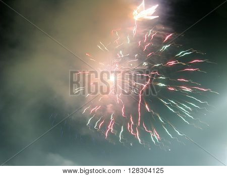 Abstract firework patterns in the night sky