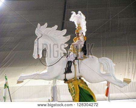 Rio de Janeiro Brazil - February 23: amazing extravaganza during the annual Carnival in Rio de Janeiro on February 23 2009 - horseman