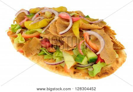 Shawarma doner kebab meat with salad on a naan bread isolated on a white background