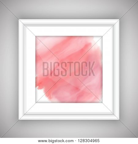 Pink watercolor design in a whie picture frame