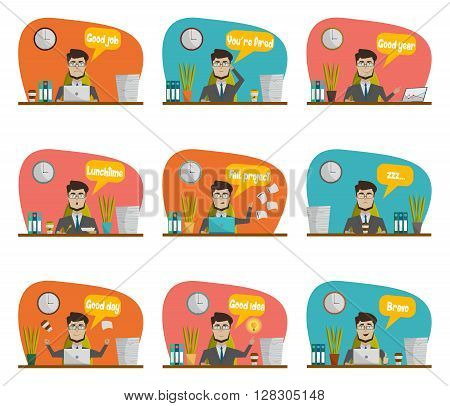 Businessman in a suit sitting at workplace during the day and perform different types of work right statements icon set vector illustration