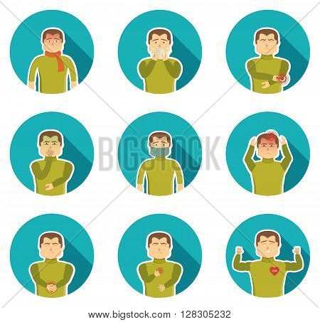 Flu symptoms icon set with ailing man and his state of health when sickness vector illustration