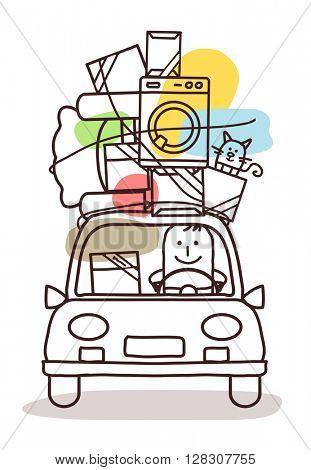 cartoon characters and car - move