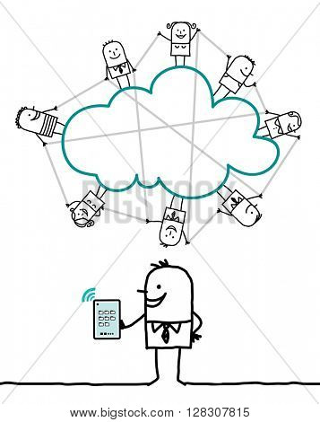 cartoon characters and cloud - connected