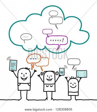 cartoon characters and cloud - social network