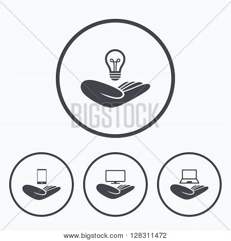 Helping hands icons. Intellectual property insurance symbol. Smartphone, TV monitor and pc notebook sign. Device protection. Icons in circles.