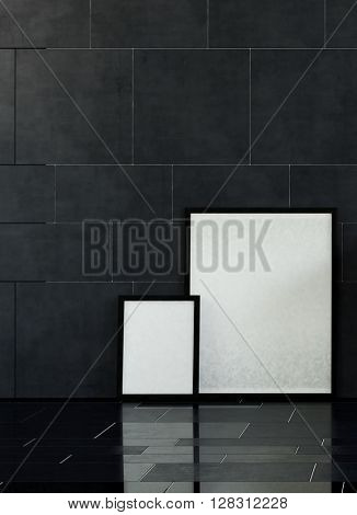3D render of pair of black white and black picture frames with copy space on floor leaning against wall with slick dark marble tiles. 3d Rendering.