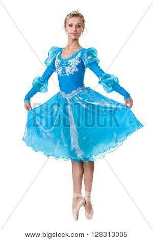 one caucasian young woman ballerina ballet dancer dancing, isolated in full body on white background