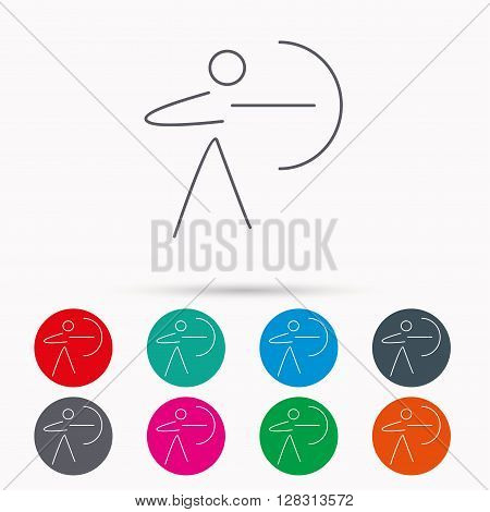 Archery sport icon. Archer with longbow sign. Aiming or targeting symbol. Linear icons in circles on white background.