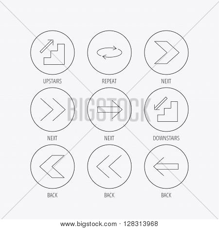Arrows icons. Upstairs, downstairs and repeat linear signs. Next, back arrows flat line icons. Linear colored in circle edge icons.