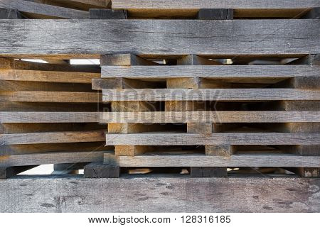Lumber stacked in piles to dry on the open air
