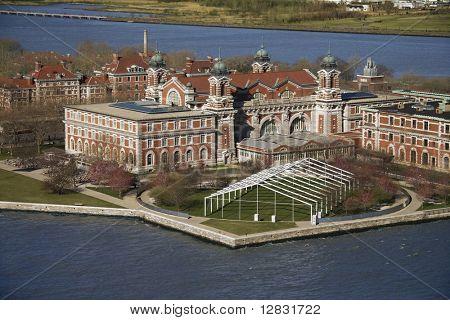 Aerial view of Ellis Island, New York City.