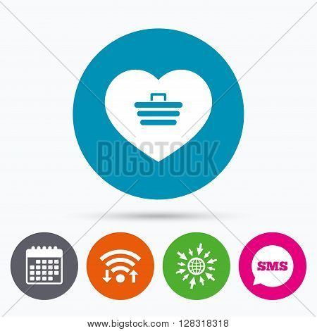 Wifi, Sms and calendar icons. Love Shopping Cart sign icon. Online buying. Go to web globe.