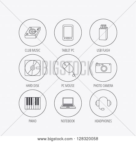 Tablet PC, USB flash and notebook laptop icons. Club music, hard disk and photo camera linear signs. Piano, headphones icons. Linear colored in circle edge icons.