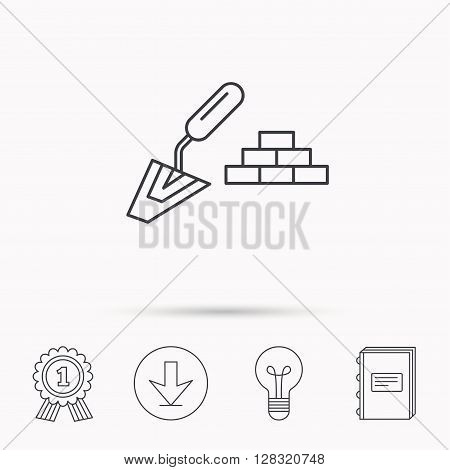 Finishing icon. Spatula with bricks sign. Download arrow, lamp, learn book and award medal icons.