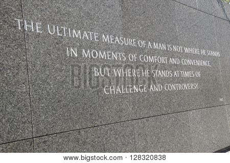 WASHINGTON, DC - APR 16: Martin Luther King Jr. Memorial in Washington, DC, as seen on April 16, 2016. This memorial is the first African American honored with a memorial on or near the national Mall.