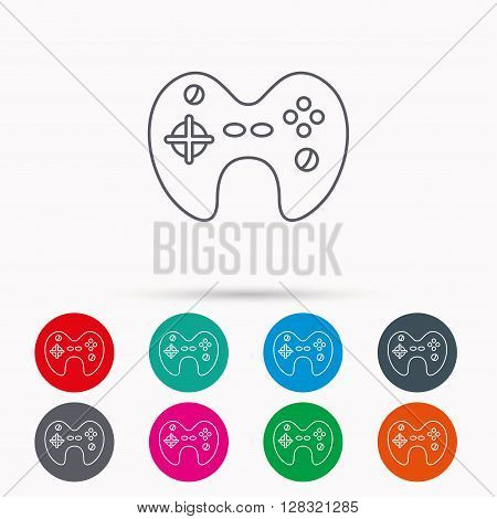 Joystick icon. Video game sign. Linear icons in circles on white background. poster