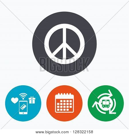 Peace sign icon. Hope symbol. Antiwar sign. Mobile payments, calendar and wifi icons. Bus shuttle.
