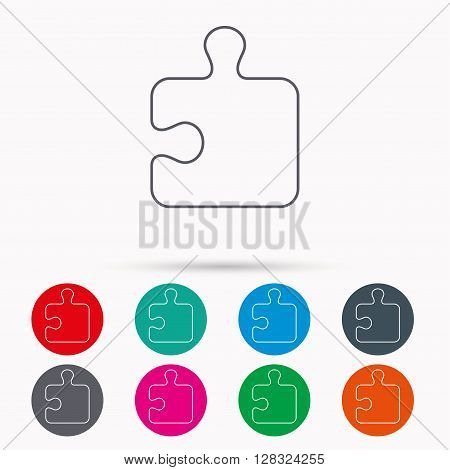Puzzle icon. Jigsaw logical game sign. Boardgame piece symbol. Linear icons in circles on white background.