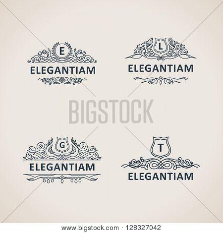Calligraphic flourishes luxury monogram set. Line frame template logo for emblem. Patterns for design calligraphic menu, restaurant cafe, invitations, cards. Vintage vector line symbols E, L, G, T